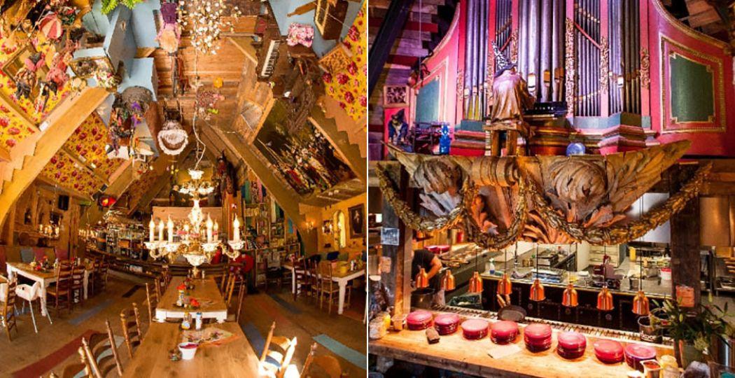 Links: Alles staat op z'n kop in deze kamer! Rechts: De heks speelt op haar orgel boven de keuken. Foto's: Pannenkoekhuis Hans & Grietje.