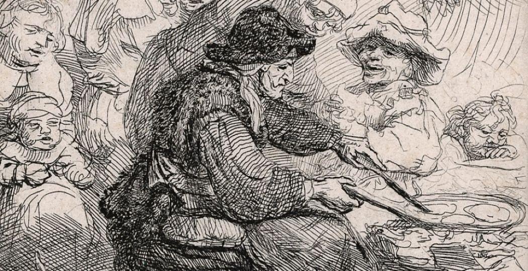 Rembrandt, Rembrandts moeder, zittend aan tafel, ca. 1631. Foto: Museum Het Rembrandthuis.