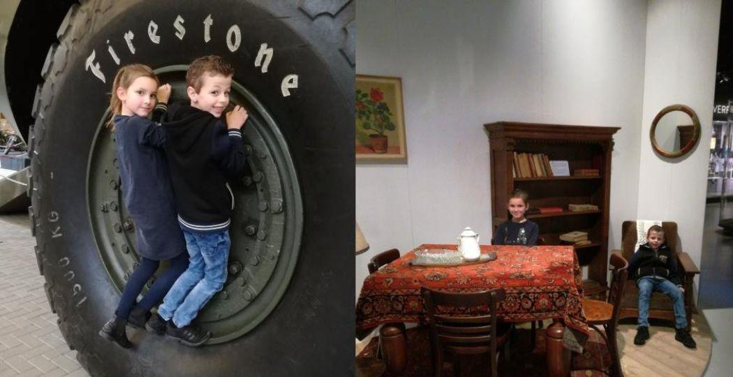 De gigantische wielen van een monsterlijk groot amfibievoertuig en een huiskamer uit grootmoeders tijd. Foto: Redactie DagjeWeg.NL.