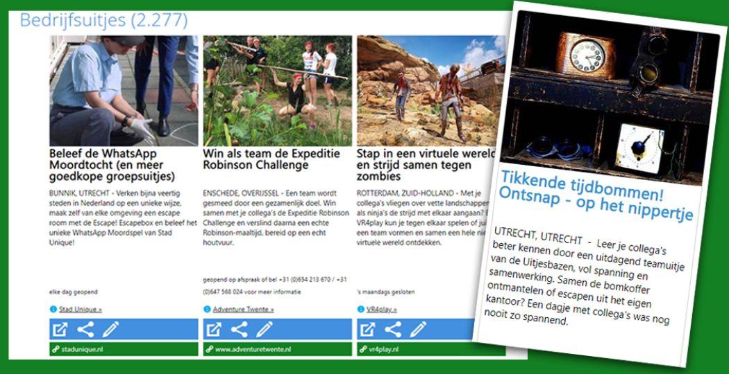 Kies voor de relevante rubrieken op DagjeWeg.NL. Foto: DagjeWeg.NL