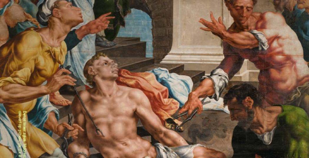 Op het kunstwerk zie je de heilige Laurentius die geroosterd wordt. Foto: TAQA Theater de Vest Alkmaar