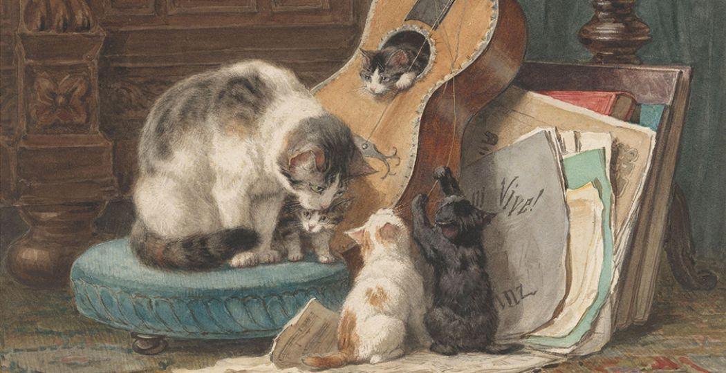 De toonkunstenaars, ca. 1876, Henriëtte Ronner-Knip, Rijksmuseum. Foto: Stedelijk Museum Vianen. De afbeelding is bijgesneden voor gebruik op DagjeWeg.NL.