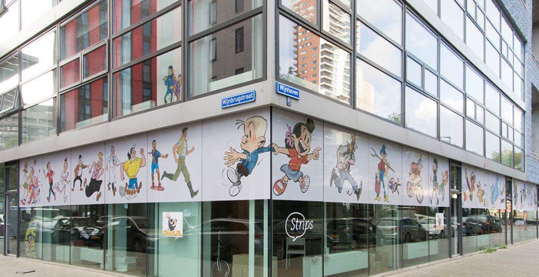 Bekende stripfiguren sieren de gevel van het museum. Foto: Museum Strips! in Rotterdam.