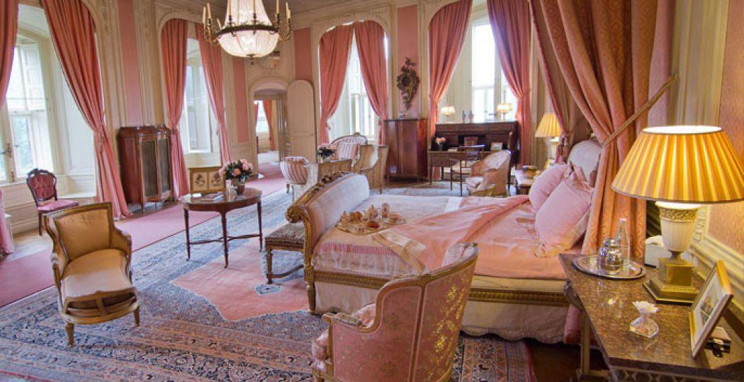 De droom van ieder prinsesje: de slaapkamer van de barones. Foto: Kasteel de Haar