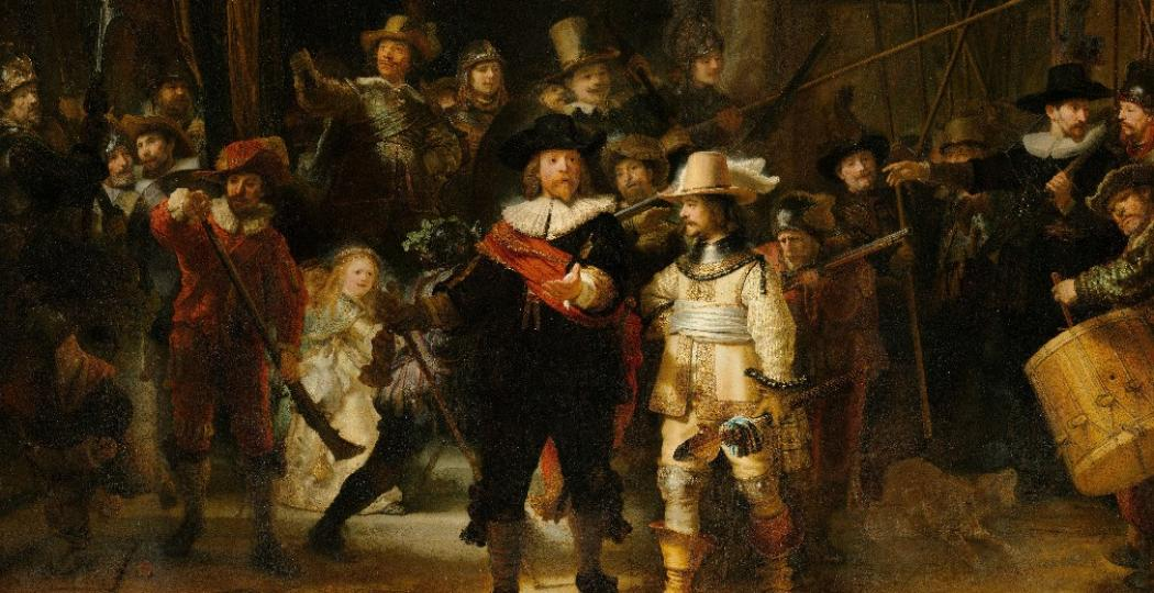 Rembrandt Harmensz. van Rijn, Schutters van wijk II onder leiding van kapitein Frans Banninck Cocq, bekend als de 'Nachtwacht', 1642. Foto: Rijksmuseum, Amsterdam. Bruikleen van de gemeente Amsterdam