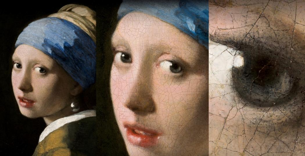 Hoe dicht je ook inzoomt op Vermeers Meisje met de Parel, alles blijft haarscherp. Het Mauritshuis is nu online te zien in gigapixels, als eerste ter wereld. Foto: Mauritshuis