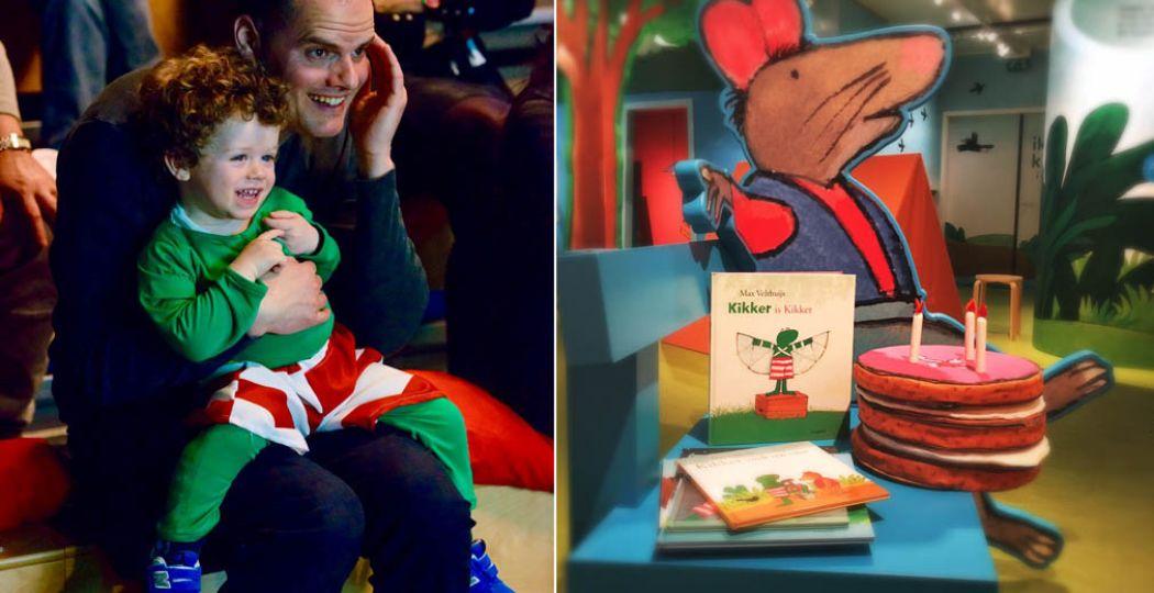 Met een Kikkerbroek aan op avontuur. Foto links: Annemarie van der Togt. Foto rechts: Kinderboekenmuseum.