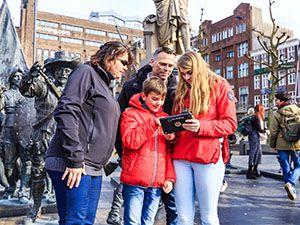Op jacht naar een moordenaar op het Rembrandtplein. Foto: City Challenge App
