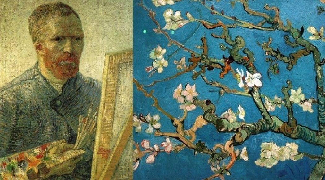 Links: Van Gogh, zelfportret als een artiest. Foto:  Museumweb ,  Licentie Publiek domein via  Wikimedia Commons . Rechts: Amandelbloesem (detail) door Vincent van Gogh (1890). Foto:  Flickr/Taina B   CC BY-SA 2.0 .