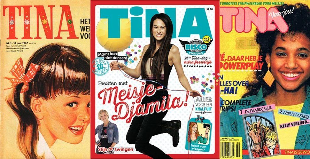 Zo begon de Tina! Links de allereerste cover uit 1967, helemaal rechts die uit 1986. In het midden de Tina in de stijl van nu, een nummer uit 2016. Foto's: Tina, Sanoma Media.