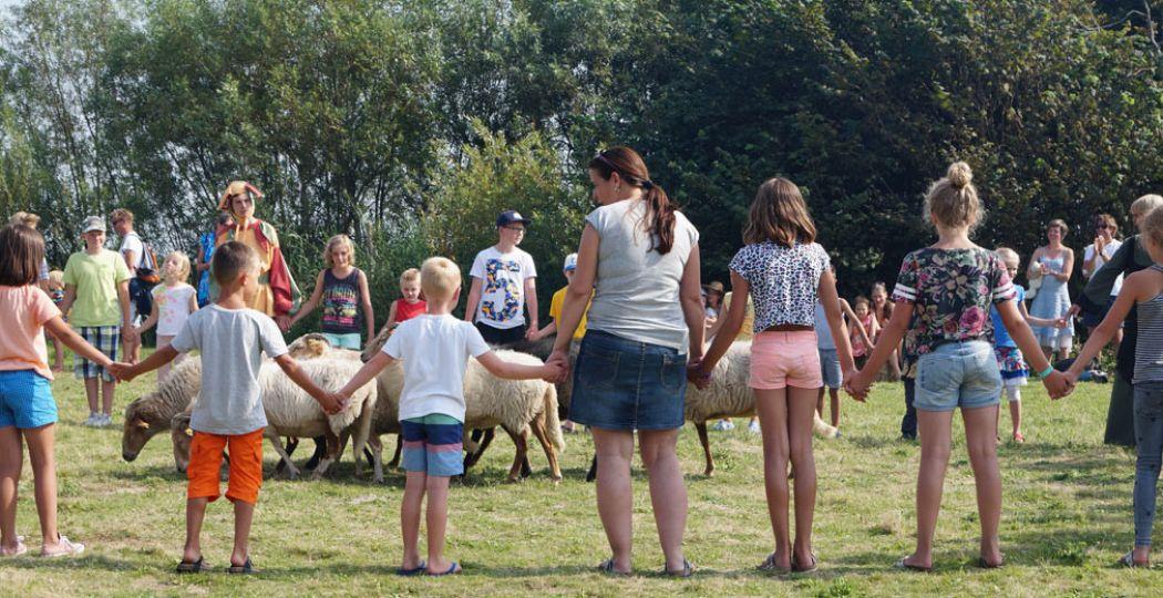 Het publiek mag de herder helpen tijdens de demonstratie schapen drijven. Foto: DagjeWeg.NL