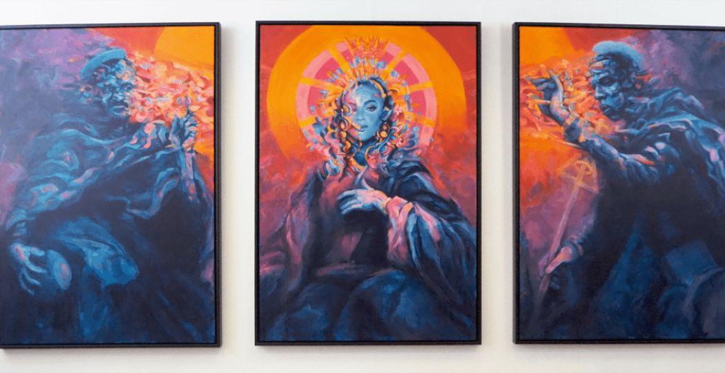 Celebs als heiligen in de tentoonstelling #Blessed. Foto: Museum Krona, Studio Edison.