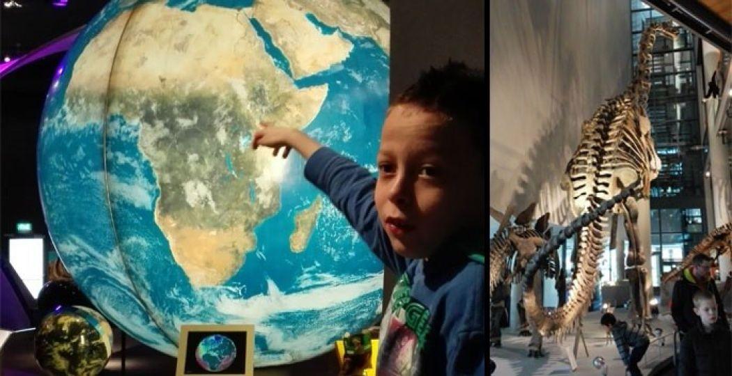 Ontdek Nederland op de gigantische wereldbol en bekijk het enorme Camarosaurusskelet. Foto: DagjeWeg.NL