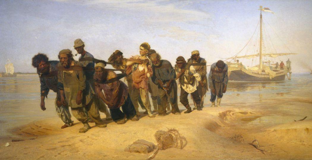 Ilya Repin (1844-1930), Wolgaslepers, 1870-1873, olieverf op doek, collectie Staats Russisch Museum, St. Petersburg.