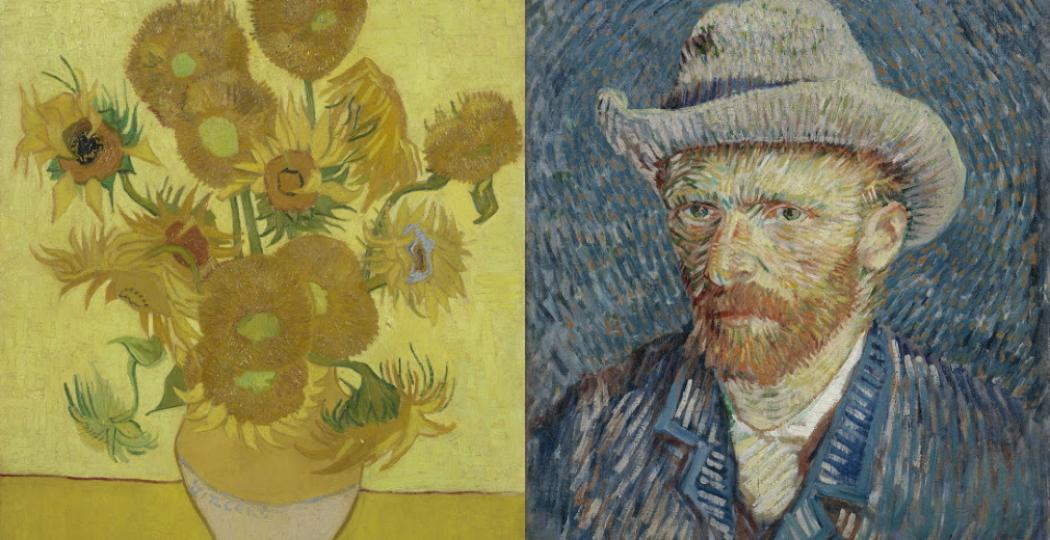 Links: Zonnebloemen, Vincent van Gogh, januari 1889. Foto: Van Gogh Museum, Amsterdam (Vincent van Gogh Stichting). Rechts: Zelfportret met grijze vilthoed, Vincent van Gogh, september-oktober 1887. Foto: Van Gogh Museum, Amsterdam (Vincent van Gogh Stichting).