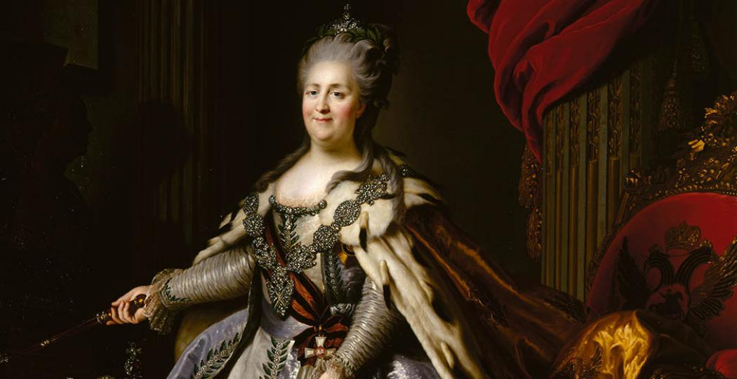 Fjodor Rokotov naar Alexander Roslin, Portret van Catharina de Grote, 1780–90 (origineel 1777–78). Olieverf op doek © State Hermitage Museum, St Petersburg.