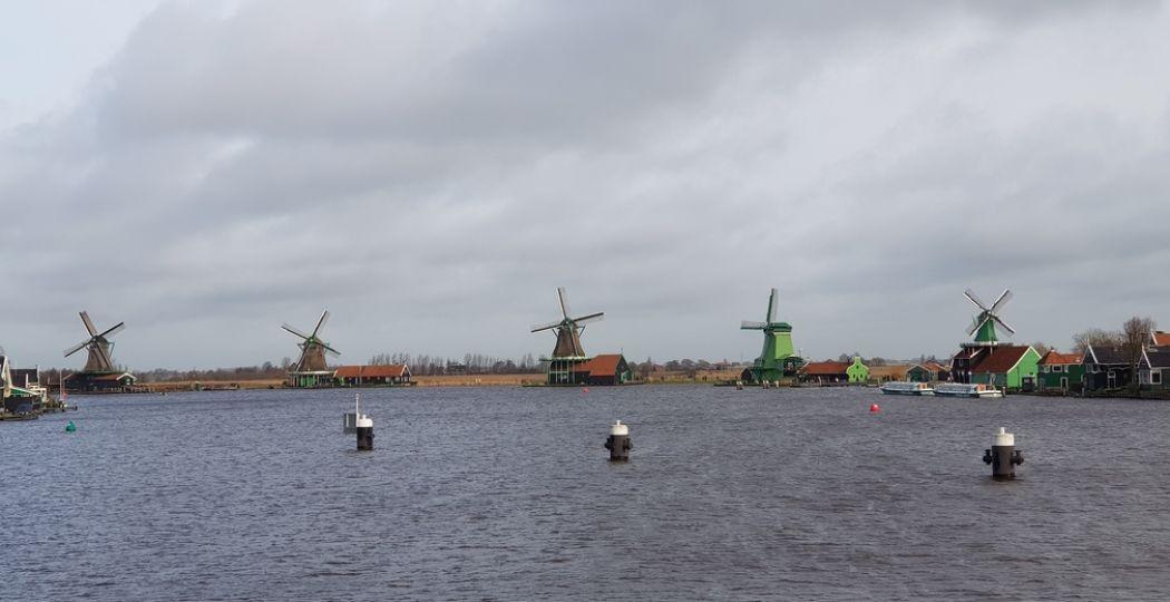 Daar staan ze aan het water: vijf van de acht molens van de Zaanse Schans. Unieke industriële molens zoals een oliemolen, verfmolen, specerijmolen en helemaal rechts de enige verfmolen ter wereld De Kat. Foto: DagjeWeg.NL / Tonny van Oosten