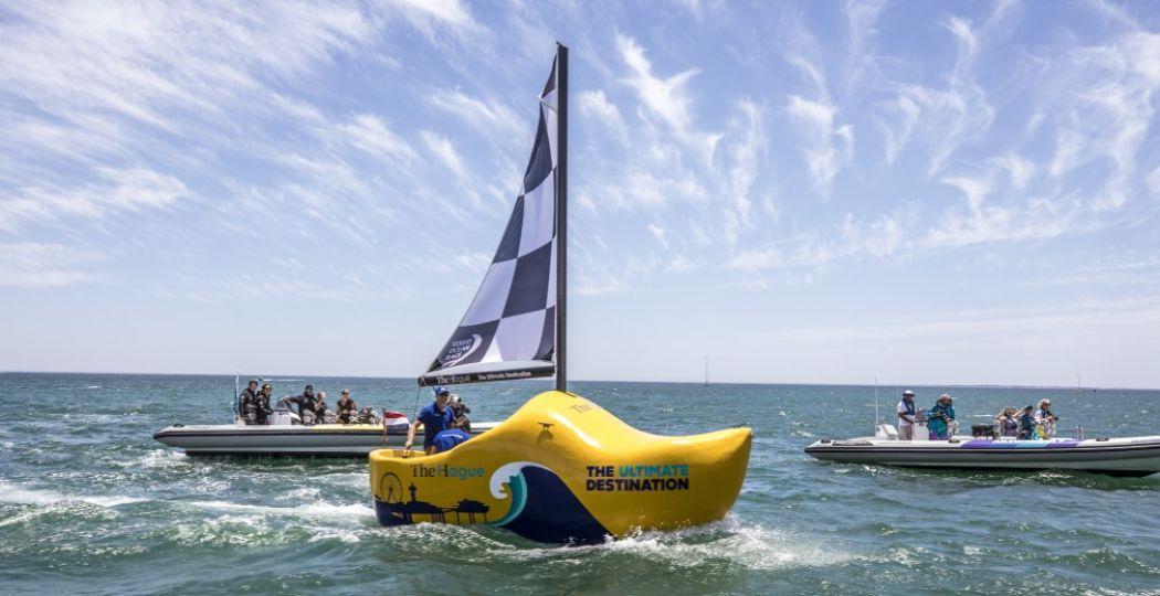De finish van de Volvo Ocean Race is in Scheveningen. Foto: Volvo Ocean Race The Hague