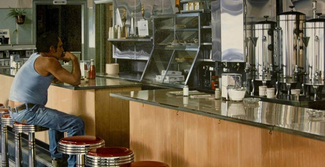Het schilderij  Amsterdam Diner , gemaakt in 1980 door Ralph Goings en te zien in het Drents Museum. Foto: Courtesy of Louis K. & Susan P. Meisel, New York Courtesy: The estate of Ralph Goings