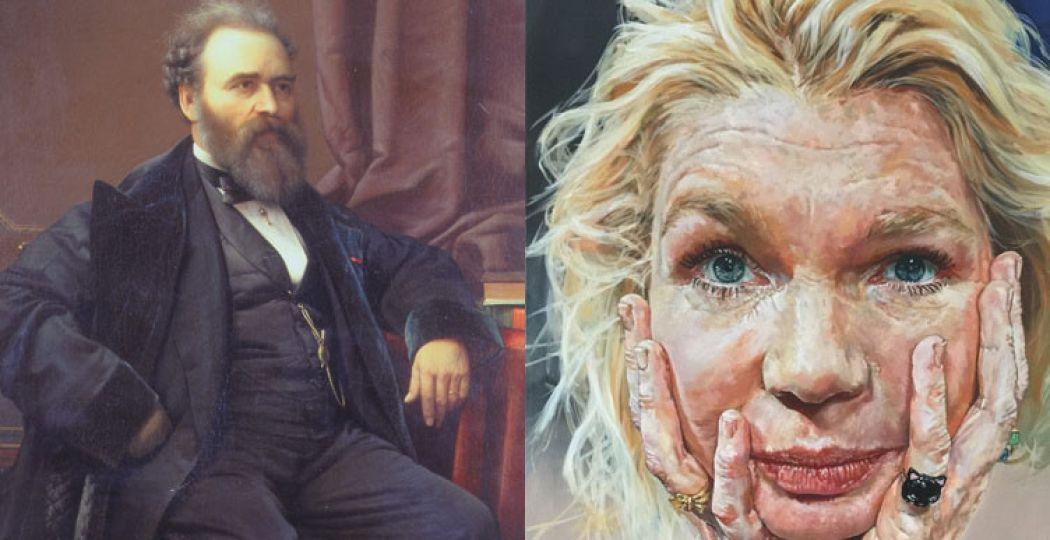 Links: Petrus van Schendel - Zelfportret, 1869. Olieverf op paneel. Rechts: Suzan Schuttelaar - Tjitske Reidinga, 2015.