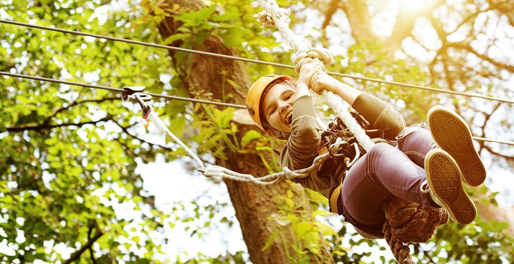 Klim, klauter en zipline tussen de bomen bij Klimbos Avontuurlijk Paasloo. Foto: Klimbos Avontuurlijk Paasloo
