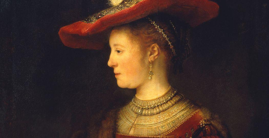 Dit persoonlijke kunstwerk is voor het eerst in ruim 250 in Nederland te zien. Schilderij: Rembrandt van Rijn, Saskia en profil in rijk gewaad, 1633-1642, olieverf op paneel Museumslandschaft Hessen Kassel, Gemäldegalerie Alte Meister. Foto: Fries Museum.