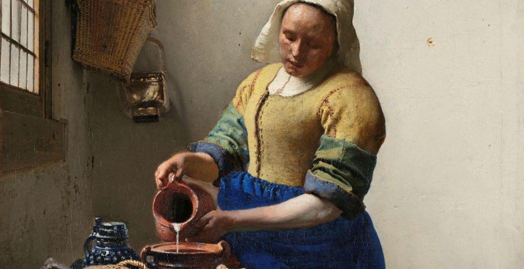 (Fragment van) Johannes Vermeer, Het melkmeisje, ca. 1660. Rijksmuseum, Amsterdam. Aankoop met steun van de Vereniging Rembrandt. Foto: Rijksmuseum.