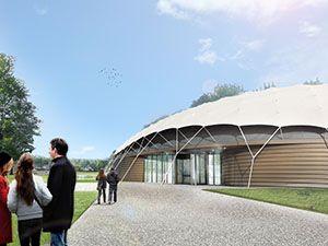 Het duurzame gebouw lijkt op een parachute. Foto: Shaded Dome Technologies
