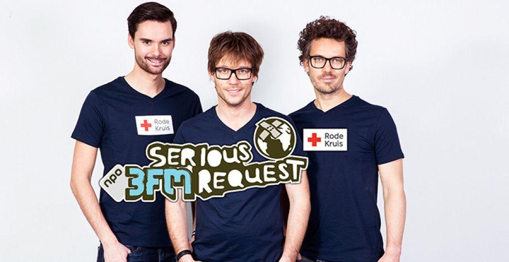 Dit jaar sluiten dj's Giel Beelen, Domien Verschuuren en Paul Rabbering zich op voor het goede doel. Credits: NPO 3FM.