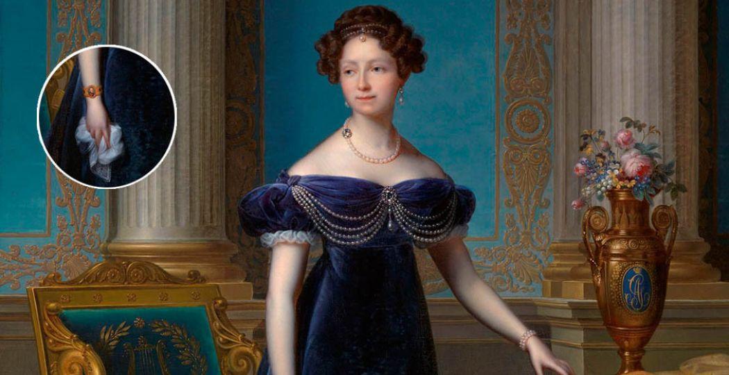 Anna Paulowna met een portret van haar man Willem II om haar pols.   Staatsieportret van Anna Paulowna, F.J. Kinsoen, 1824. Collectie Koninklijke Verzamelingen, Den Haag (bewerkt).