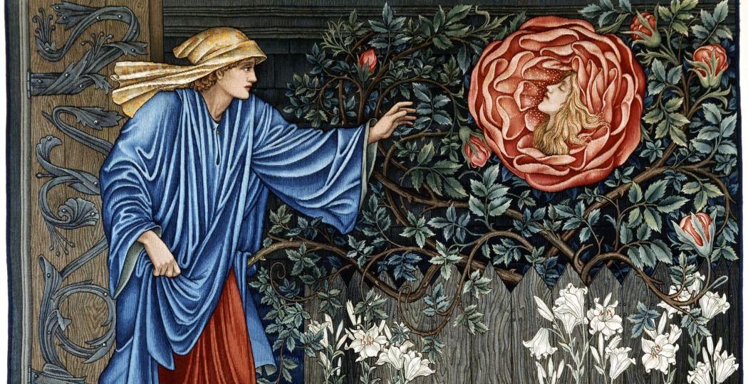 Wandkleed 'The Pilgrim in the Garden' naar ontwerp van Edward Burne-Jones, Merton Abbey, Badisches Landesmusem Karlsrue. Foto: Allard Pierson.