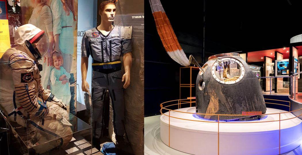 Voorwerpen die in de ruimte zijn geweest, inclusief de Soyuz-capsule van André Kuipers. Foto: Space Expo