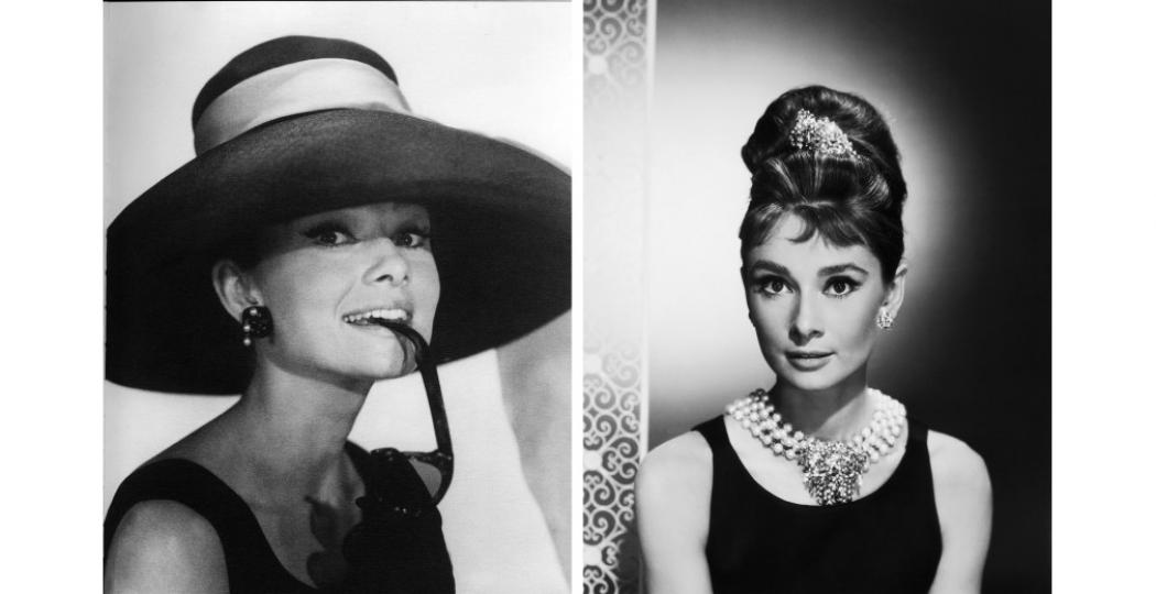 Audrey Hepburn in Breakfast at Tiffany's. Foto links: Donaldson Collection/Getty Images. Foto rechts: George Rinhart/Getty Images.