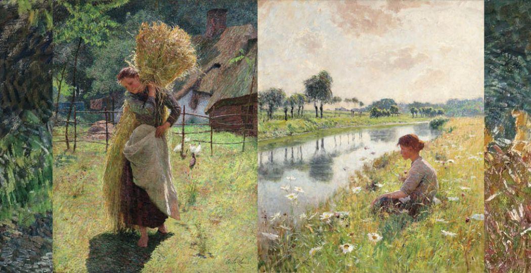 Links: De hooister, Emile Claus (1896). Rechts: Meisje aan de Leie, Emile Claus (1892).