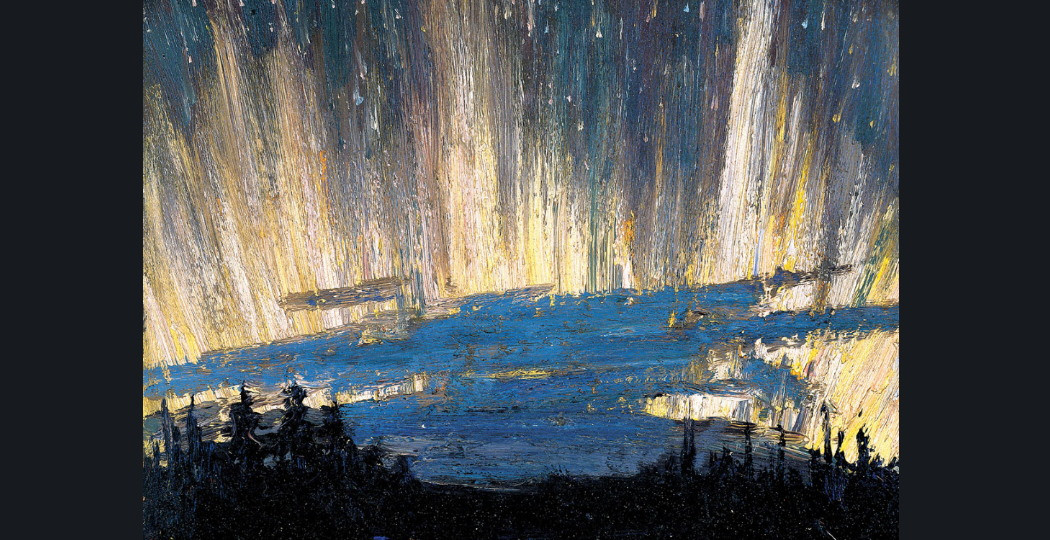 Tom Thomson, Claremont, Northern Lights, circa 1916-1917. Olieverf op hout. The Montreal Museum of Fine Arts. Aangekocht door A. Sidney Dawes Fund. Foto: MMFA, Jean-François Brière