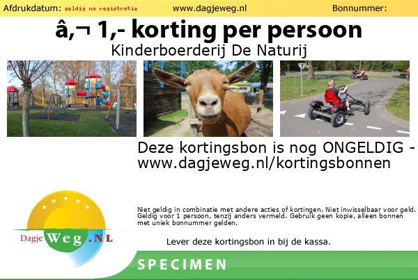 Kortingsbon Kinderboerderij De Naturij SPECIMEN