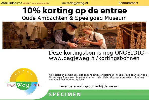 Kortingsbon Oude Ambachten & Speelgoed Museum SPECIMEN